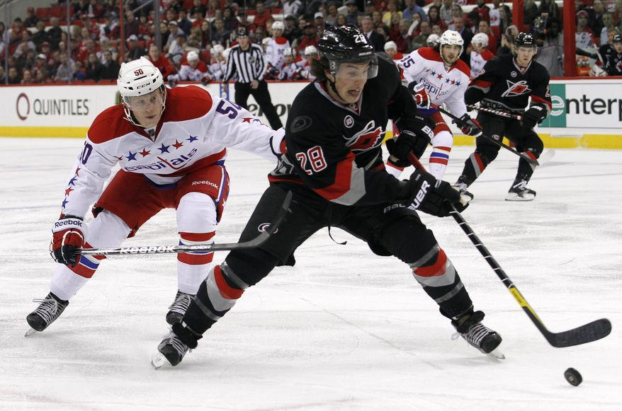 Carolina Hurricanes defenseman Justin Faulk battles with Washington Capitals center Cody Eakin for the puck during the first period in Raleigh, N.C., Friday, Jan. 20, 2012. (AP Photo/Jim R. Bounds)