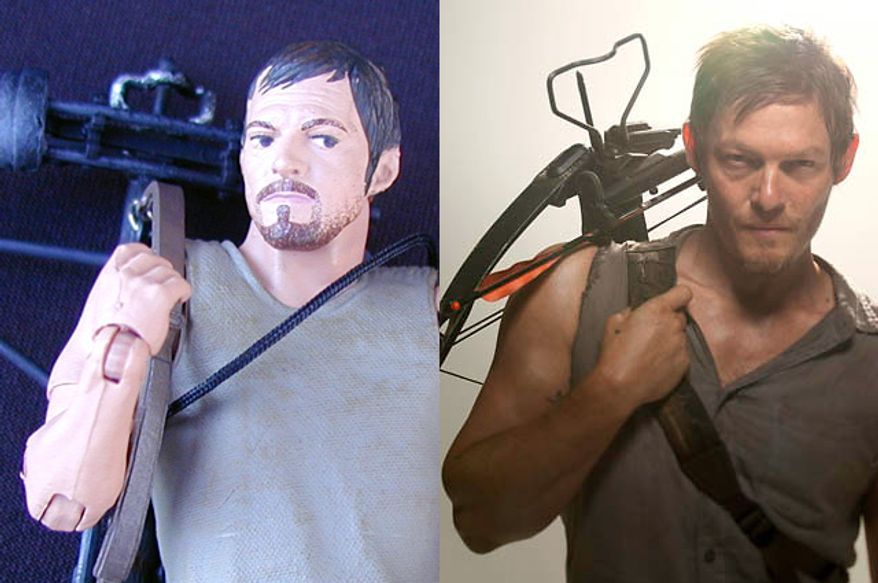 A comparison between McFarlane Toys' Daryl Dixon action figure and Norman Reedus, the actor who portrays Mr. Dixon  in the Walking Dead television show. (Action figure photograph by Joseph Szadkowski / The Washington Times; Norman Reedus photograph, courtesy AMC)