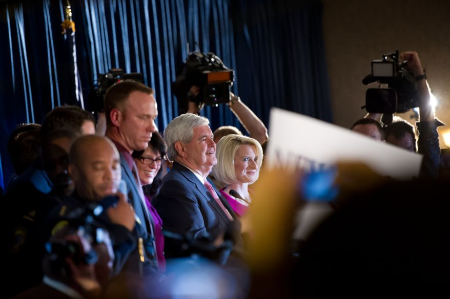 Former House Speaker Newt Gingrich speaks to supporters with his wife Callista at his side after winning South Carolina's Republican primary, at the Hilton Columbia Center, Columbia, S.C., Saturday, Jan. 21, 2012. (Andrew Harnik/The Washington Times)