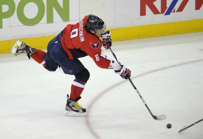 Washington Capitals left wing Alex Ovechkin, like the rest of his teammates, has seen his shot total dip lately. He has only 23 in the last eight games. (AP Photo/Nick Wass)