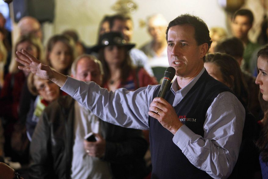 Republican presidential candidate, former Pennsylvania Sen. Rick Santorum speaks at Captain Steve's Restaurant in Fort Mill, S.C., Friday, Jan. 20, 2012. (AP Photo/Paul Sancya)