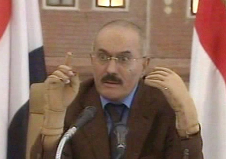 ** FILE ** In this Saturday, Oct. 8, 2011, file image made from video, Yemen's President Ali Abdullah Saleh speaks on Yemen State Television. Yemeni officials say Saleh will leave soon to Oman, en route to medical treatment in the United States. (AP Photo/Yemen State TV, File)