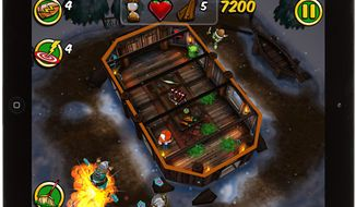 A Viking hut  becomes a battleground against the undead in the iPad game Zombie Wonderland 2: Outta Time!