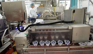 Chobani produces 1.5 million cases of Greek yogurt a week at its plant in South Edmeston, N.Y. (Associated Press)