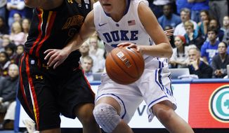 Duke's Haley Peters drives around Maryland's Tianna Hawkins during the first half in Durham, N.C., Sunday, Jan. 22, 2012. Peters had 21 points as Duke won 80-72. (AP Photo/Gerry Broome)