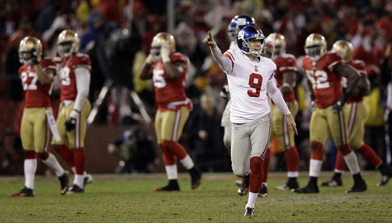 New York Giants' Lawrence Tynes reacts after kicking the game-winning field goal during overtime of the NFC Championship game against the San Francisco 49ers on Sunday, Jan. 22, 2012, in San Francisco. The Giants won 20-17 to advance to Super Bowl XLVI. (AP Photo/David J. Phillip)