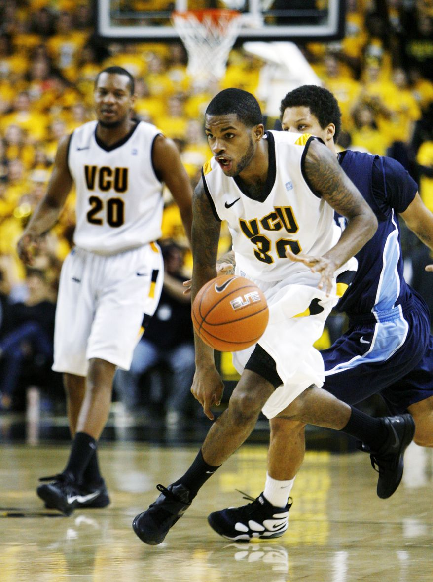 Virginia Commonwealth's Troy Daniels drives to the basket against Old Dominion during the second half, Saturday, Jan. 21, 2012, in Richmond, Va. VCU won 61-48. (AP Photo/Richmond Times-Dispatch, Dean Hoffmeyer)