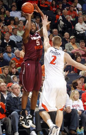 Virginia Tech guard Dorenzo Hudson had 12 points as Virginia Tech defeated Virginia, 47-45, on Sunday Jan. 22, 2012 in Charlottesville, Va. (AP Photo/Andrew Shurtleff)