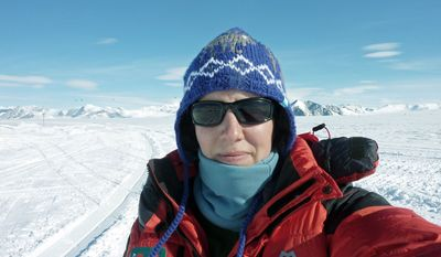 Felicity Aston takes a picture of herself at Union Glacier on Nov. 19 before she traveled to her starting point on the Ross Ice Shelf for a solo ski trek across Antarctica. She completed her crossing on Monday. (Associated Press)
