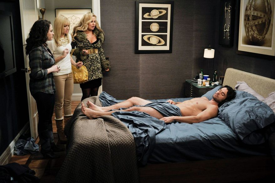 "CBS' Monday night sitcoms are pushing limits in broadcast prime time with risque humor. From left, Kat Dennings, Beth Behrs and Jennifer Coolidge in a scene from ""2 Broke Girls."" (CBS Entertainment via Associated Press)"