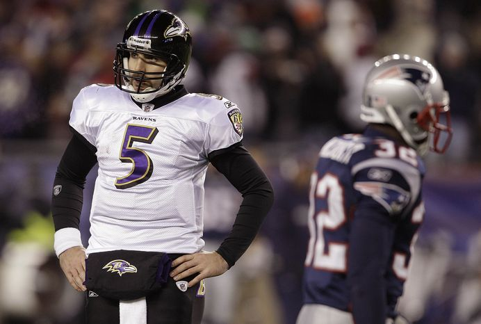 Baltimore Ravens quarterback Joe Flacco (5) stands on the field in the closing minutes of the during the AFC Championship game against the New England Patriots Sunday, Jan. 22, 2012, in Foxborough, Mass. The Patriots defeated the Ravens 23-20. (AP Photo/Matt Slocum)