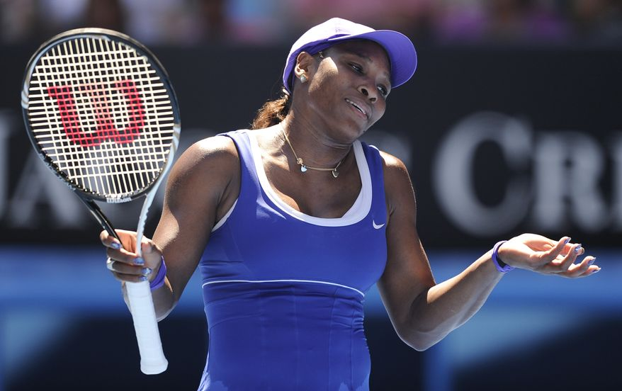 Serena Williams of the U.S. reacts in frustration during her fourth-round match against Russia's Ekaterina Makarova at the Australian Open in Melbourne, Australia, on Monday, Jan. 23, 2012. (AP Photo/Andrew Brownbill)