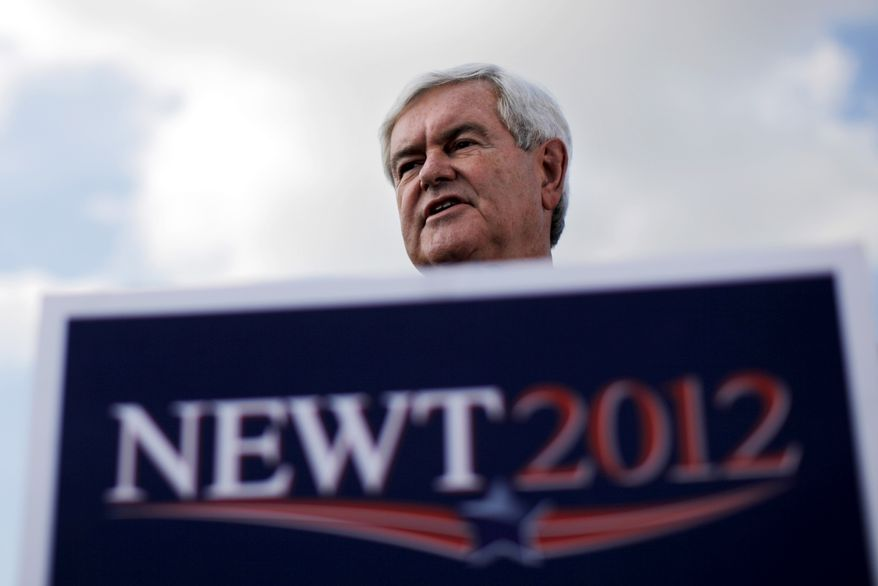Republican presidential candidate and former House Speaker Newt Gingrich speaks Jan. 23, 2012, at the River Church in Tampa, Fla. (Associated Press)