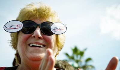 Nancy Kelley of Tampa, Fla., applauds as Republican presidential candidate and former House Speaker Newt Gingrich speaks at a campaign stop at The River at Tampa Bay Church in Tampa, Fla., Monday, January 23, 2012. (Rod Lamkey Jr/ The Washington Times)