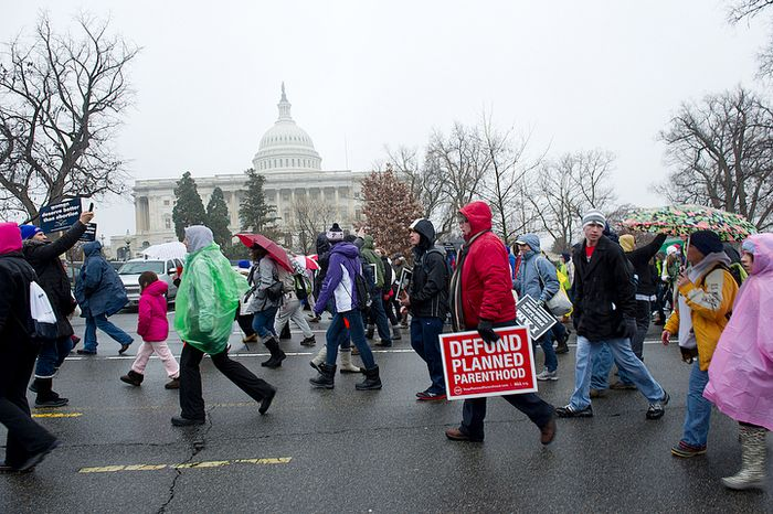 **FILE** Pro-life advocates march past the U.S. Capitol in Washington, D.C., on Monday, Jan. 23, 2012 as part of the March for Life. The group rallied at the National Mall and marched to the U.S. Supreme Court in hopes that Roe v. Wade will be overturned. (Barbara L. Salisbury/The Washington Times)