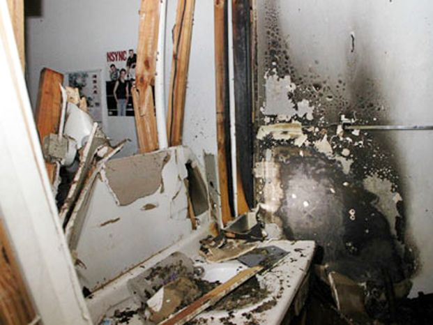 The interior of a home in Clarksville, Tenn., damaged by a shake-and-bake meth lab explosion in December 2011 is seen here. (Associated Press/Tennessee Methamphetamine Task Force)