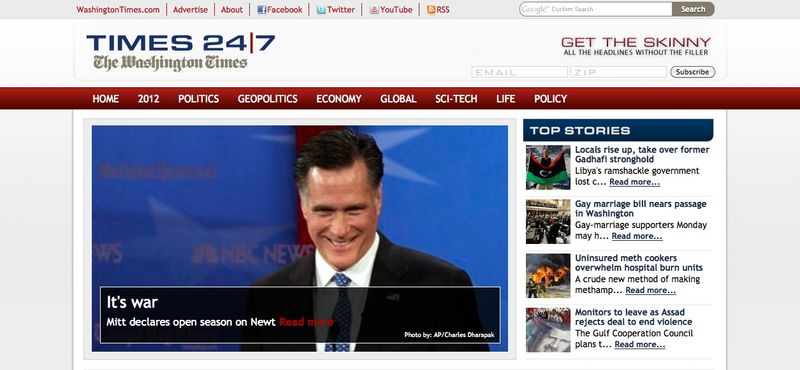 This screen shot shows The Washington Times' new digital news site, Times247.com.