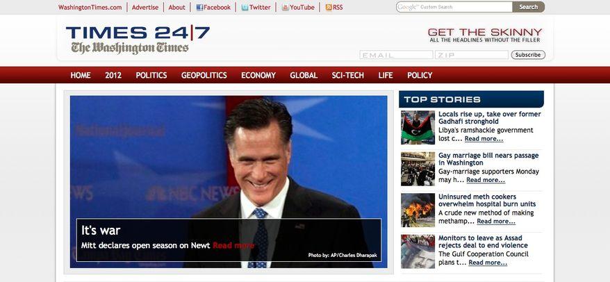This screen shot shows The Washington Times' new digital news site, Times247.com.