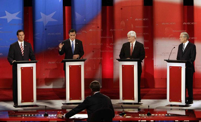 Taking part in a Republican presidential debate in Tampa, Fla., on Monday, Jan. 23, 2012, are (from left) former Pennsylvania Sen. Rick Santorum, former Massachusetts Gov. Mitt Romney, former House Speaker Newt Gingrich and Texas Rep. Ron Paul, as moderator Brian Williams of NBC News listens. (AP Photo/Paul Sancya)