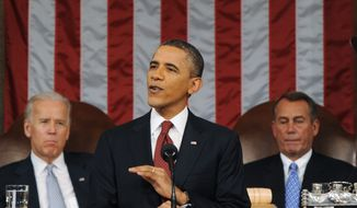 President Barack Obama delivers his State of the Union address on Capitol Hill in Washington, Tuesday, Jan. 24, 2012. Listening in back are Vice President Joe Biden and House Speaker John Boehner, right. (AP Photo/Saul Loeb, Pool)