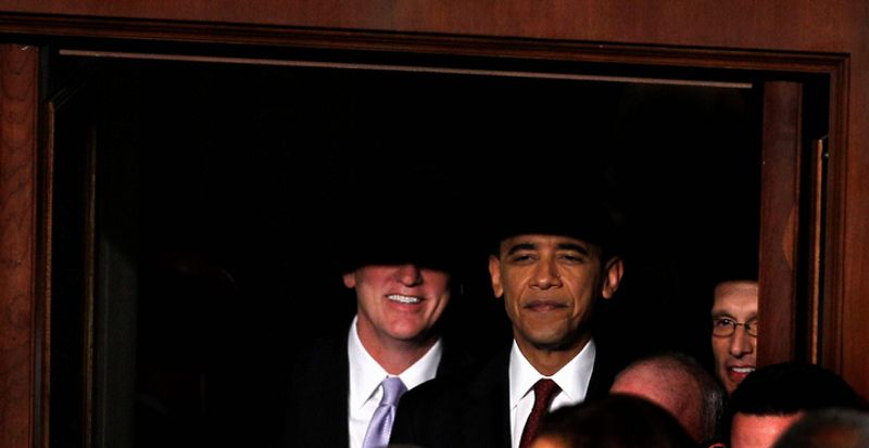 Two of Raynard Jackson's biggest losers of 2014: President Barack Obama and, at right, former House Majority Leader Eric Cantor of Virginia. (AP Photo/Evan Vucci)