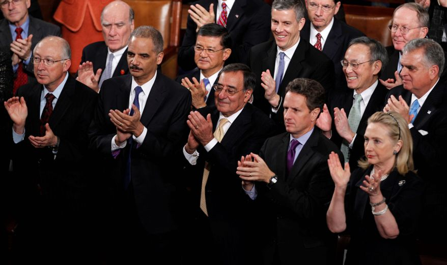 Cabinet members applaud President Barack Obama's State of the Union address on Capitol Hill in Washington, Tuesday, Jan. 24, 2012. From left are, Interior Secretary Ken Salazar, White House Chief of Staff William Daley, Attorney General Eric Holder,  Veterans Affairs Secretary Eric Shinseki, Defense Secretary Leon Panetta, Treasury Secretary Timothy Geithner, Commerce Secretary Gary Locke, Secretary of State Hillary Rodham Clinton and Transportation Secretary Ray LaHood.  (AP Photo/Evan Vucci)