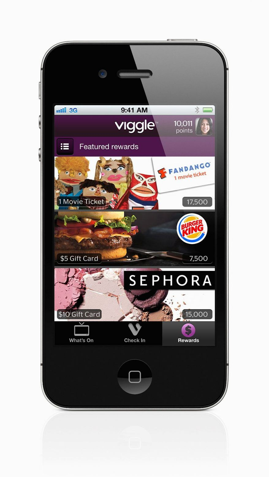 When you tap the screen, Viggle's software for iPhones and iPads  listens to what's on, recognizes  what you're watching and gives you credits toward $5 gift cards. (Function X Inc. via Associated Press)