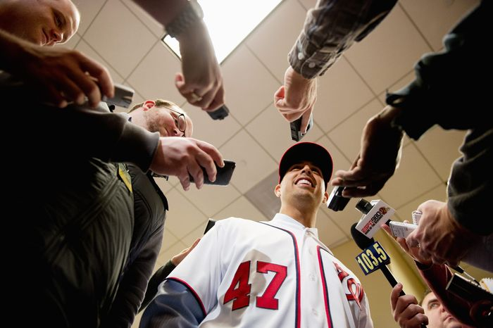 Gio Gonzalez, greeting members of the media at Nationals Park, will be part of a rotation that includes Stephen Strasburg and Jordan Zimmermann. (Andrew Harnik/The Washington Times)