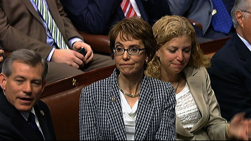 This video image provided by House Television shows Rep. Gabrielle Giffords, Arizona Democrat, on the floor of the House on Capitol Hill on Jan. 25, 2012. Giffords resigned from the House amid tears, tributes and standing ovations, more than a year after she was gravely wounded by a would-be assassin. (Associated Press/House Television)