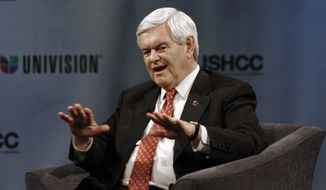 """Former House Speaker Newt Gingrich gestures during a """"Meet the Candidates"""" forum on Wednesday, Jan. 25, 2012, in Miami. (AP Photo/Jeffrey M. Boan)"""