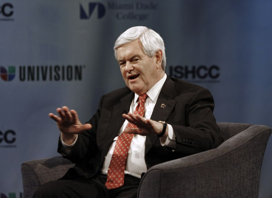 "Former House Speaker Newt Gingrich gestures during a ""Meet the Candidates"" forum on Wednesday, Jan. 25, 2012, in Miami. (AP Photo/Jeffrey M. Boan)"