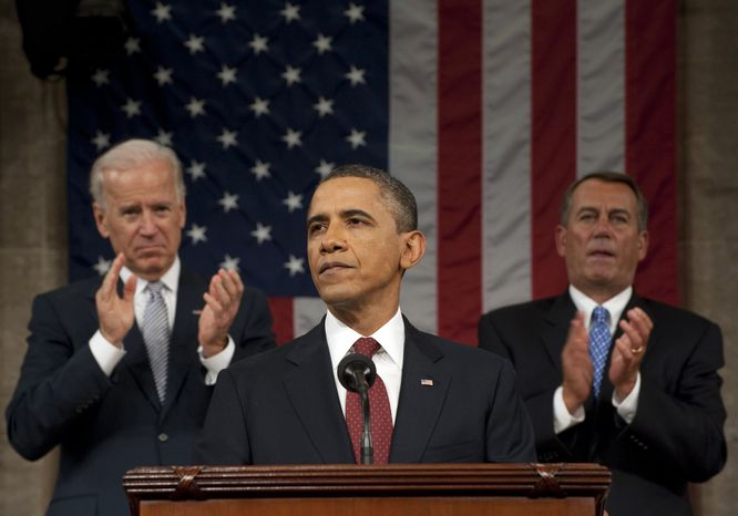 President Obama delivers his State of the Union address on Capitol Hill in Washington on Tuesday, Jan. 24, 2012, as Vice President Joseph R. Biden Jr. (left) and House Speaker John A. Boehner applaud. (AP Photo/Saul Loeb, Pool)