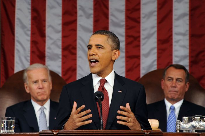 ** FILE ** President Obama delivers his State of the Union address on Capitol Hill in Washington on Tuesday, Jan. 24, 2012. Listening in back are Vice President Joseph R. Biden Jr. (left) and House Speaker John A. Boehner. (AP Photo/Saul Loeb, Pool)
