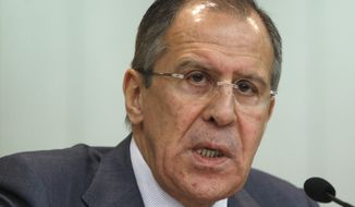 Russian Foreign Minister Sergey Lavrov (AP Photo/Mikhail Metzel)