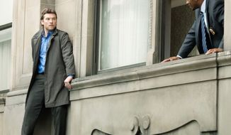 "Sam Worthington isn't suicidal in the B-move thriller ""Man  on a Ledge,"" but does Anthony Mackie, his former partner on the New  York Police Department, know that? (Summit Entertainment via Associated Press)"