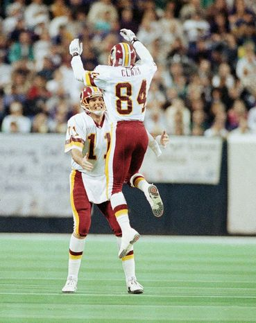 Quarterback Mark Rypien and receiver Gary Clark  teamed for a touchdown in the 37-24 win over Buffalo in Super Bowl XXVI. (Associated Press)