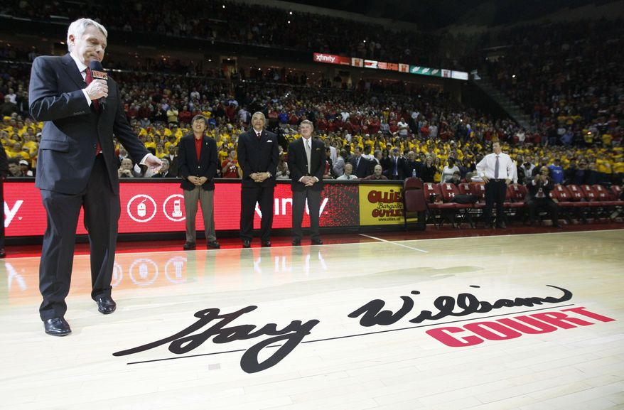 Former Maryland head coach Gary Williams speaks during a ceremony to dedicate the court in his name before the game between Maryland and Duke in College Park, Md., Wednesday, Jan. 25, 2012. Williams, who retired in May with more wins than anyone in the history of the program, led Maryland to two Final Fours and a national title in 2002. (AP Photo/Patrick Semansky)