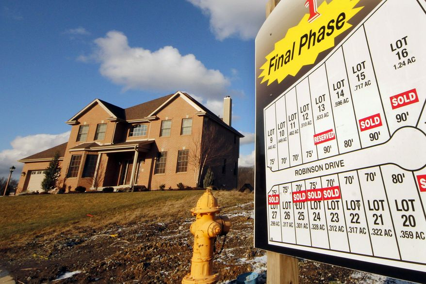 This photo from Jan. 18, 2012, shows a new home in a development in Pleasant Hills, Pa. (Associated Press)