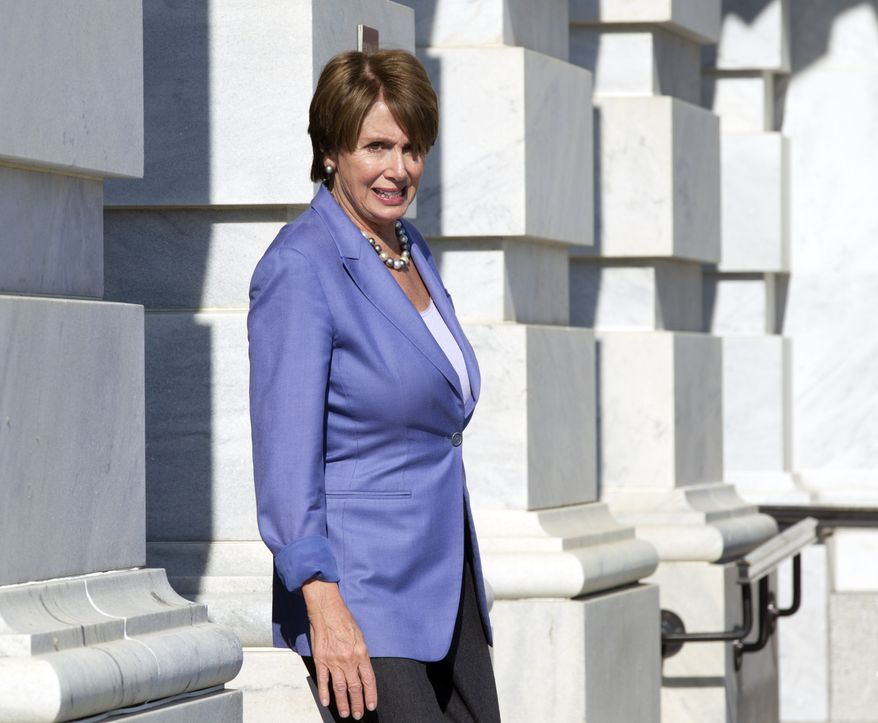 House Minority Leader Nancy Pelosi, California Democrat, leaves the Capitol on Jan. 25, 2012. (Associated Press)