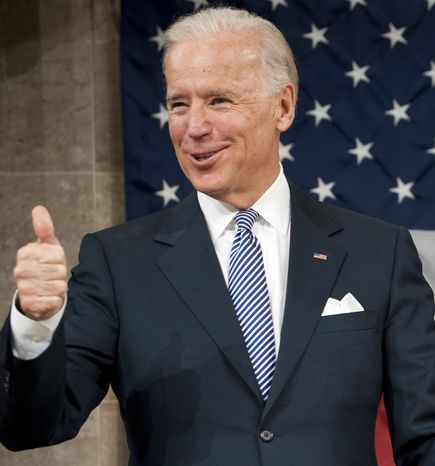 ** FILE ** Vice President Joe Biden gives a thumbs-up before President Barack Obama's State of the Union address in front of a joint session of Congress Tuesday, Jan. 24, 2012, at the Capitol in Washington. (AP Photo/Saul Loeb, Pool)