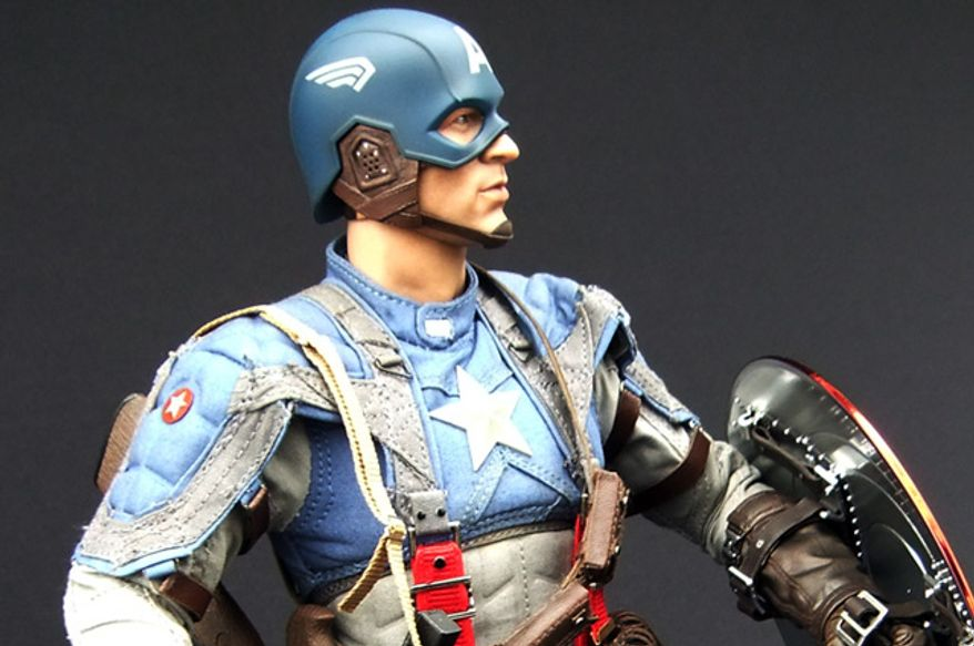 Hot Toys' Captain America: The First Avenger doll costume mirrors Anna B. Sheppard's original movie design. (Photograph by Joseph Szadkowski / The Washington Times)