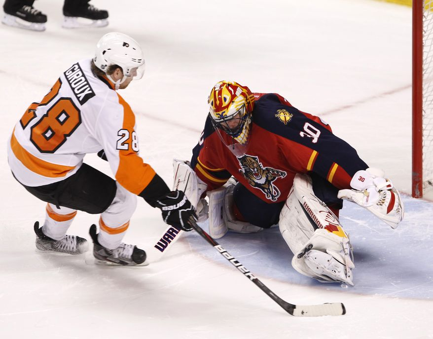 Philadelphia Flyers center Claude Giroux has 18 goals and 37 assists at the All-Star break. (AP Photo/Wilfredo Lee)