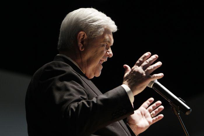 Republican presidential candidate, former House Speaker Newt Gingrich speaks in Delray Beach, Fla., Friday, Jan. 27, 2012. (AP Photo/Paul Sancya)