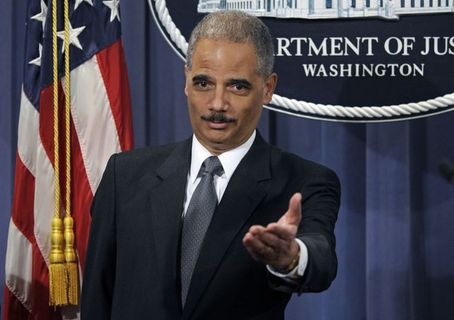 Attorney General Eric Holder announces the formation of the Residential Mortgage-Backed Securities Working Group, Friday, Jan. 27, 2012, during a news conference at the Justice Department in Washington. (AP Photo/Cliff Owen)