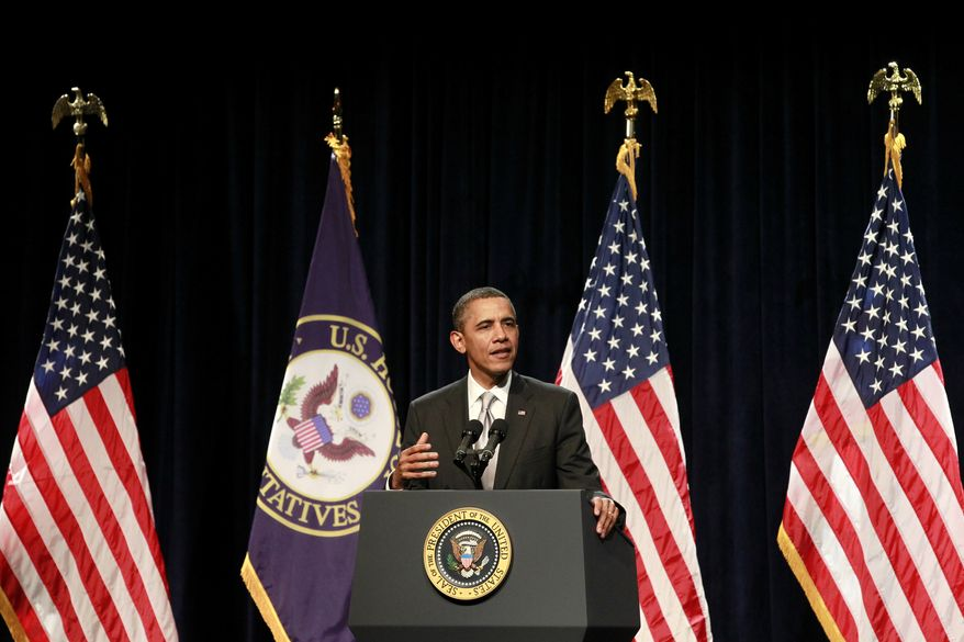 President Barack Obama speaks at the House Democratic Issues Conference, Friday, Jan. 27, 2012, in Cambridge, Md. (AP Photo/Haraz N. Ghanbari)