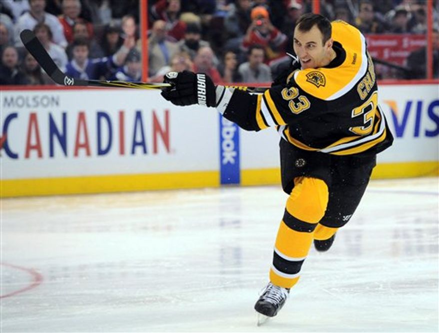 Boston Bruins' Zdeno Chara wins the during the hardest shot event with a 108.8 mph hit during the NHL All-Star skills hockey competition in Ottawa, Ontario, on Saturday, Jan. 28, 2012. (AP Photo/The Canadian Press, Sean Kilpatrick)