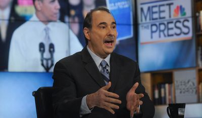 """In this photo provided by NBC News, David Axelrod, Obama Campaign Senior Political Strategist, appears on NBC's """"Meet the Press"""" in Washington, Sunday, Jan. 29, 2012. (AP Photo/NBC News, William B. Plowman)"""