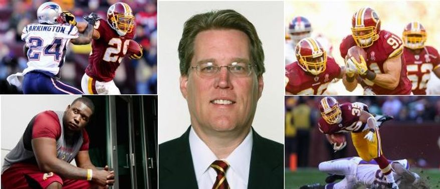 """The Redskins' draft in 2011 largely paid dividends, with significant contributions from most of their picks. Roy Helu (top left/Preston Keres/Special to The Washington Times) set a franchise rookie record with three straight 100-yard games.; linebacker Ryan Kerrigan (top right/Andrew Harnik/The WashingtonTimes) returned an interception for a touchdown against the Giants in the opener; Jarvis Jenkins (bottom left/(Preston Keres/Special to The Washington Times) tore an ACL in the preseason but figures prominently in their plans and running back Evan Royster (bottom right/Preston Keres/Special to The Washington Times) was a workhorse down the stretch.   """"The scouts enjoy working with coach [Mike] Shanahan through the draft more than anybody we've had because he continues up to draft day asking their opinions."""" Scott Campbell, director of player personnel (center/Associated Press)"""