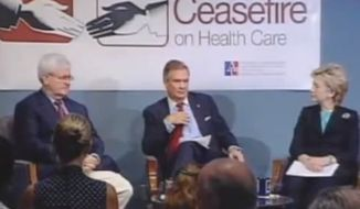 A screen capture of a video of Newt Gingrich and Hillary Rodham Clinton attending a 2005 policy forum is seen here. The video was uploaded to YouTube by Andrew Kaczynski.