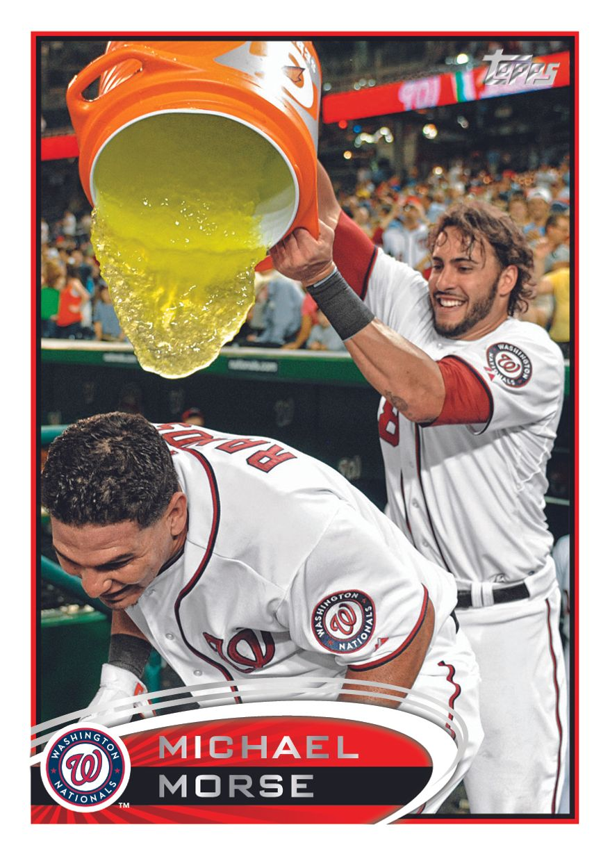Courtesy of Topps, here's the image that will appear on Michael Morse's trading card for the 2012 season.